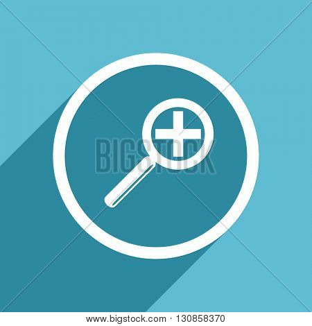 lens icon, flat design blue icon, web and mobile app design illustration