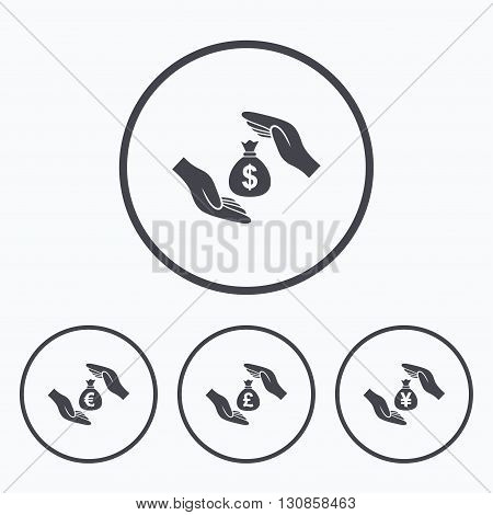 Hands insurance icons. Money bag savings insurance symbols. Hands protect cash. Currency in dollars, yen, pounds and euro signs. Icons in circles.