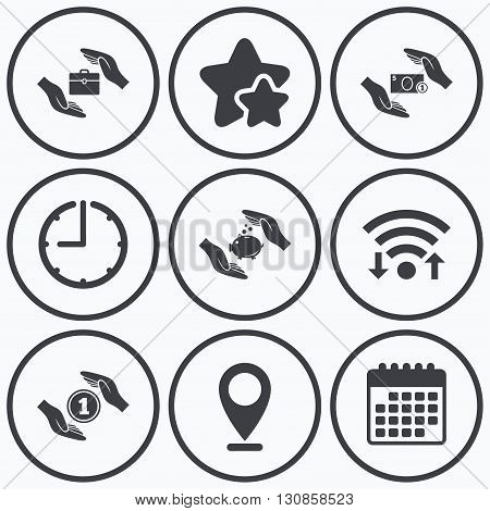 Clock, wifi and stars icons. Hands insurance icons. Piggy bank moneybox symbol. Money savings insurance signs. Travel luggage and cash coin symbols. Calendar symbol.