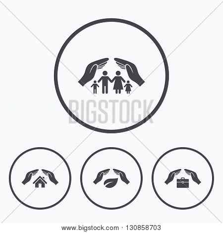 Hands insurance icons. Human life insurance symbols. Nature leaf protection symbol. House property insurance sign. Icons in circles.