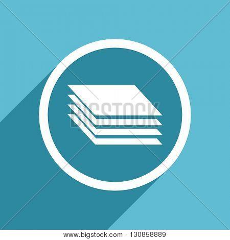 layers icon, flat design blue icon, web and mobile app design illustration
