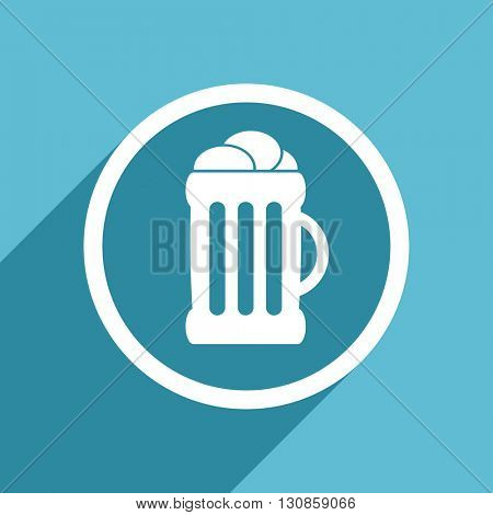 beer icon, flat design blue icon, web and mobile app design illustration