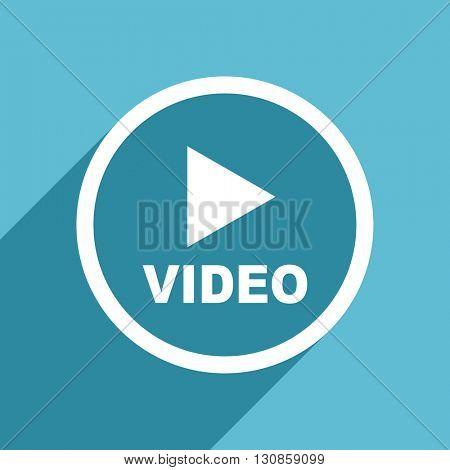 video icon, flat design blue icon, web and mobile app design illustration