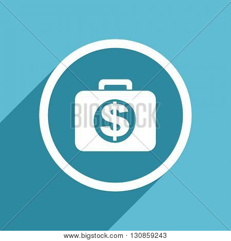 financial icon, flat design blue icon, web and mobile app design illustration