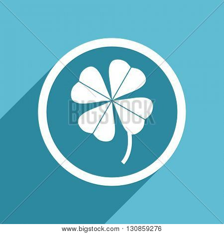 four-leaf clover icon, flat design blue icon, web and mobile app design illustration