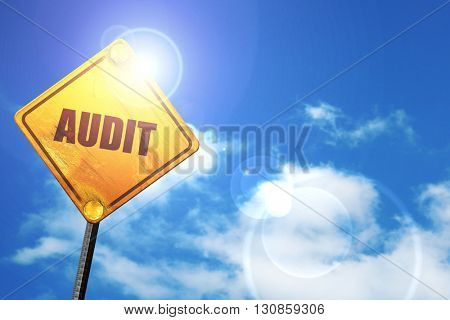 audit, 3D rendering, a yellow road sign