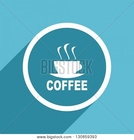 espresso icon, flat design blue icon, web and mobile app design illustration