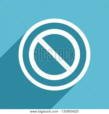 access denied icon, flat design blue icon, web and mobile app design illustration