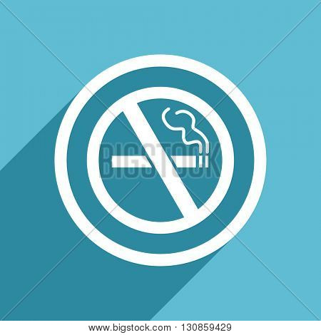 no smoking icon, flat design blue icon, web and mobile app design illustration