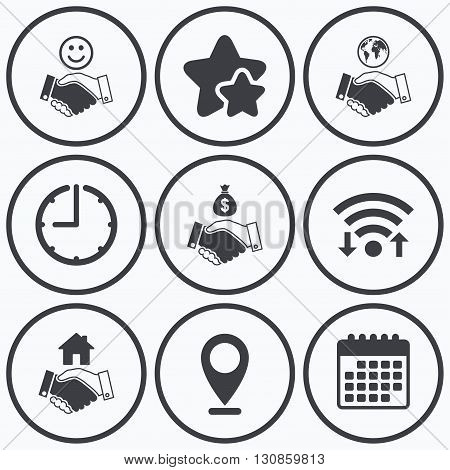 Clock, wifi and stars icons. Handshake icons. World, Smile happy face and house building symbol. Dollar cash money bag. Amicable agreement. Calendar symbol.