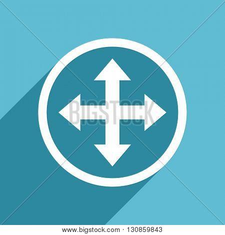 arrow icon, flat design blue icon, web and mobile app design illustration