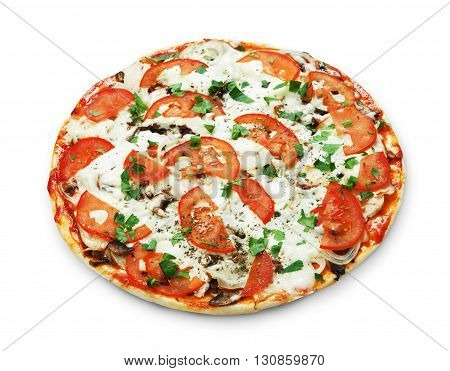 Delicious pizza with mushrooms, tomatoes and chicken meat - thin pastry crust isolated at white background. Italian food. Top view
