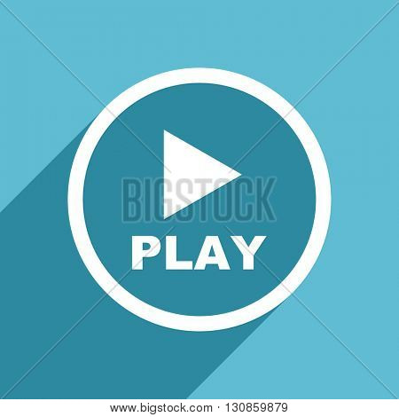 play icon, flat design blue icon, web and mobile app design illustration