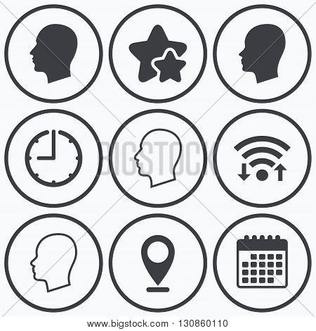Clock, wifi and stars icons. Head icons. Male and female human sign symbols. Calendar symbol.