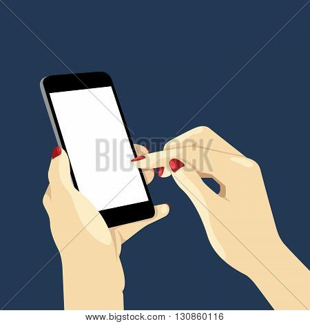 Phone Lighting In Hand. Vector Illustration Of A Woman's Hands Holding A Smart Phone In The Dark.