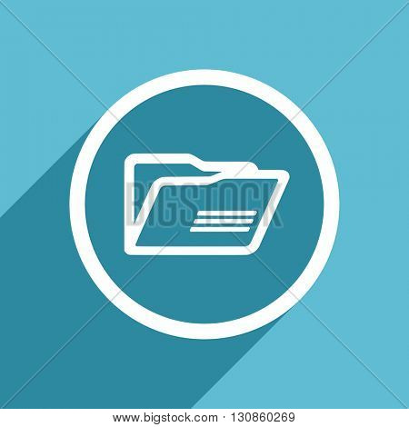 folder icon, flat design blue icon, web and mobile app design illustration