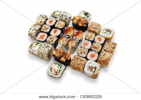 Japanese food restaurant, sushi maki unagi gunkan roll plate or platter set. California Sushi rolls with eel and salmon. Sushi isolated at white background.