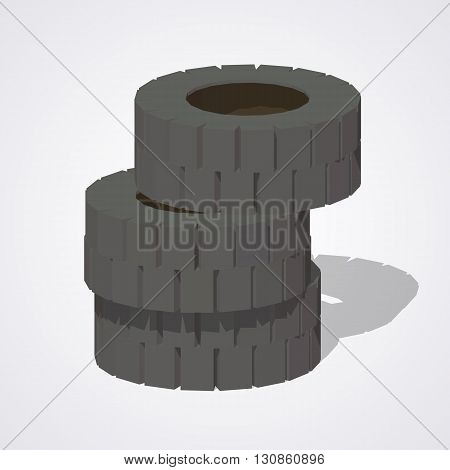 Old rubber tires against the white background. 3D lowpoly isometric vector illustration