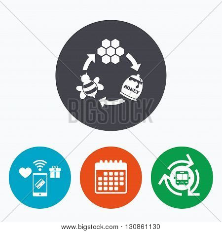 Producing honey and beeswax sign icon. Honeycomb cells symbol. Honey in pot. Sweet natural food cycle in nature. Mobile payments, calendar and wifi icons. Bus shuttle.