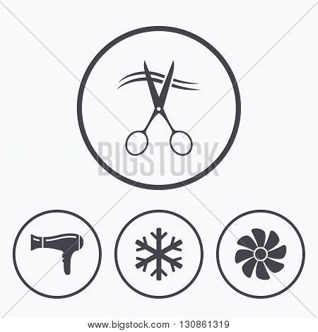 Hotel services icons. Air conditioning, Hairdryer and Ventilation in room signs. Climate control. Hairdresser or barbershop symbol. Icons in circles.