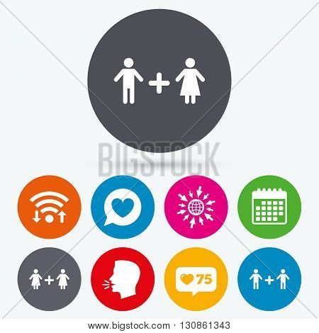 Wifi, like counter and calendar icons. Couple love icon. Lesbian and Gay lovers signs. Romantic homosexual relationships. Speech bubble with heart symbol. Human talk, go to web.