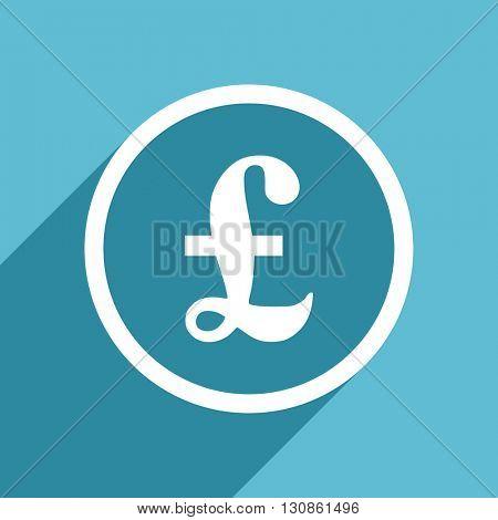 pound icon, flat design blue icon, web and mobile app design illustration