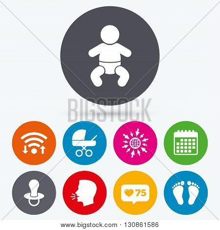 Wifi, like counter and calendar icons. Baby infants icons. Toddler boy with diapers symbol. Buggy and dummy signs. Child pacifier and pram stroller. Child footprint step sign. Human talk, go to web.