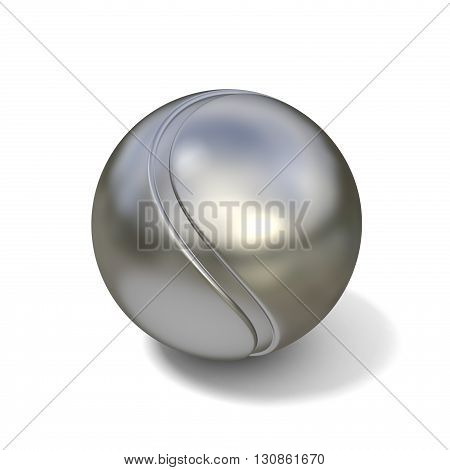 Silver tennis ball isolated on white background. 3D illustration