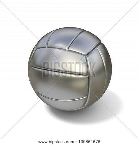 Silver volleyball ball isolated on white background. 3D illustration