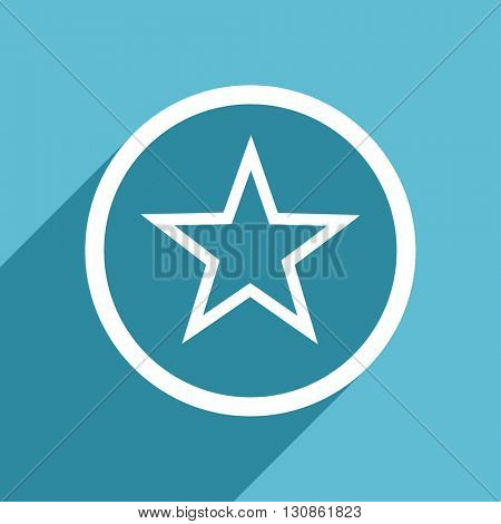star icon, flat design blue icon, web and mobile app design illustration