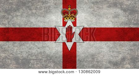 National flag of Northern Ireland (the Ulster banner) textured and distressed version