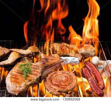 Grill concept.  Grilled meat on the grill. Cooking on barbecue