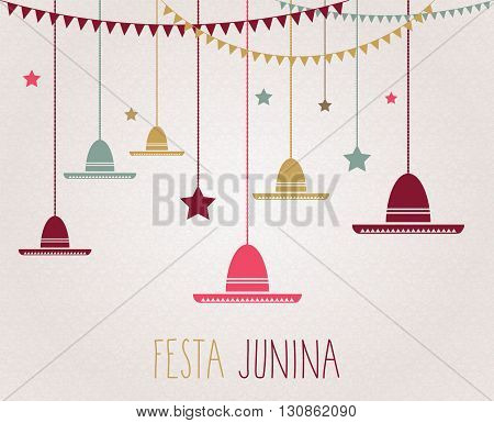 Festa Junina colorful poster. Handwritten text. Brazil june party. Vector illustration.