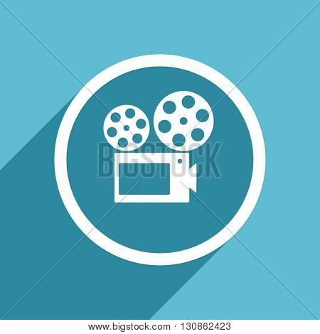 movie icon, flat design blue icon, web and mobile app design illustration