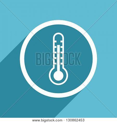thermometer icon, flat design blue icon, web and mobile app design illustration