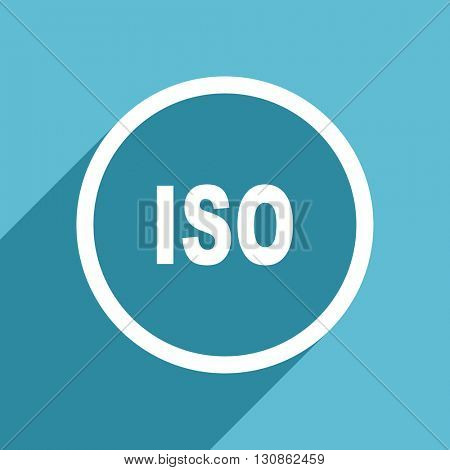 iso icon, flat design blue icon, web and mobile app design illustration