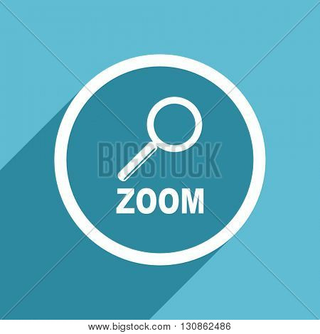 zoom icon, flat design blue icon, web and mobile app design illustration