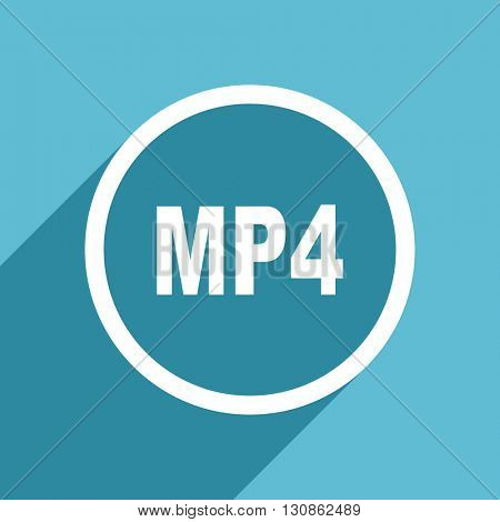 mp4 icon, flat design blue icon, web and mobile app design illustration