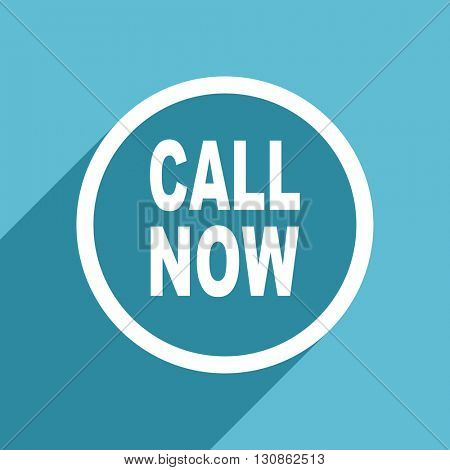 call now icon, flat design blue icon, web and mobile app design illustration