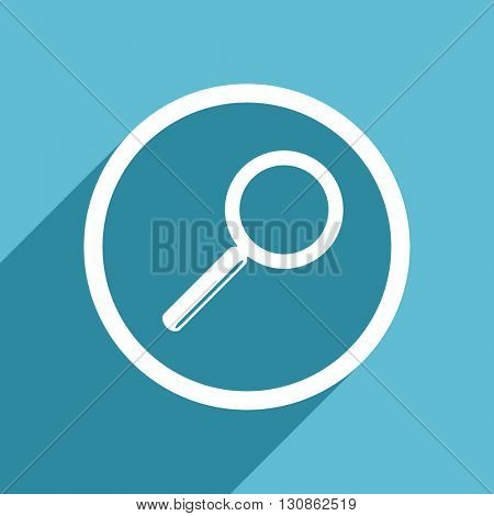 search icon, flat design blue icon, web and mobile app design illustration