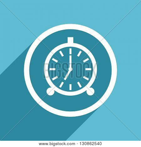 alarm icon, flat design blue icon, web and mobile app design illustration