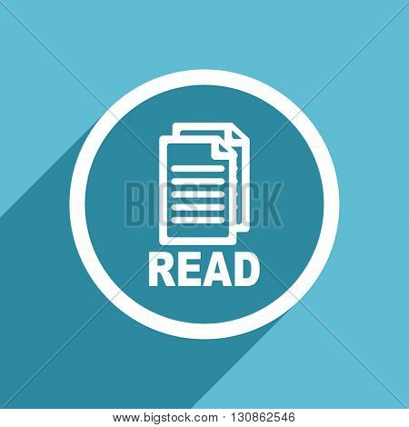 read icon, flat design blue icon, web and mobile app design illustration