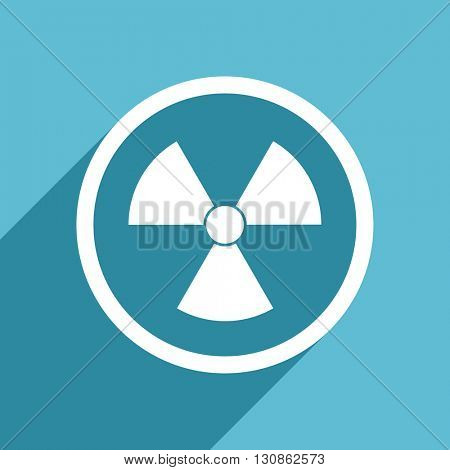 radiation icon, flat design blue icon, web and mobile app design illustration