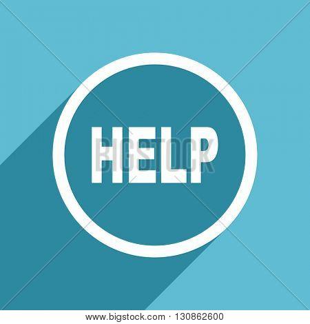 help icon, flat design blue icon, web and mobile app design illustration