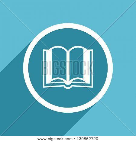 book icon, flat design blue icon, web and mobile app design illustration