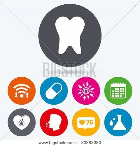 Wifi, like counter and calendar icons. Maternity icons. Pill, tooth, chemistry and heart signs. Blood donation symbol. Lab bulb with drops. Dental care. Human talk, go to web.