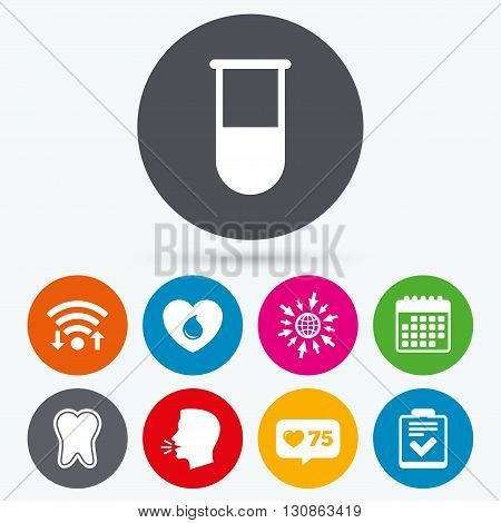 Wifi, like counter and calendar icons. Medical icons. Tooth, test tube, blood donation and checklist signs. Laboratory equipment symbol. Dental care. Human talk, go to web.