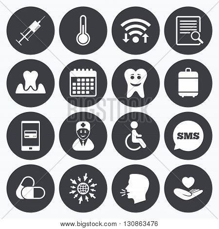 Wifi, calendar and mobile payments. Medicine, medical health and diagnosis icons. Capsules, syringe and doctor signs. Tooth parodontosis, disabled person symbols. Sms speech bubble, go to web symbols.