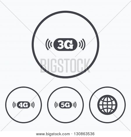 Mobile telecommunications icons. 3G, 4G and 5G technology symbols. World globe sign. Icons in circles.