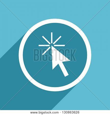 click here icon, flat design blue icon, web and mobile app design illustration